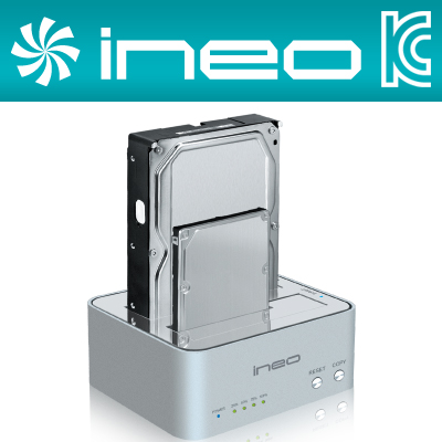 ineo I-NA321U Plus USB3.0 2Bay SSD/HDD Clone 도킹 스테이션(I-NA321U Plus/하드미포함)